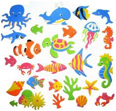 Summer craft supplies for kids - Sea Creatures Foam Stickers - use for ocean themed crafts, activities, cards and collages