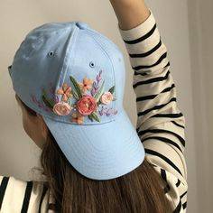 Embroidery On Clothes, Hand Embroidery Designs, Floral Embroidery, Custom Embroidery, Embroidered Flowers, Custom Embroidered Hats, Embroidered Clothes, Embroidered Baseball Caps, Bone Floral