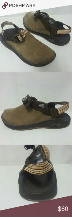Chaco brown leather slingback clogs New Size 5.5 Chaco shoes new without box, please note there is a tiny mark as scene and pics. Size 5.5, nubuck leather, sole is 9.8 inches across. Thank you Chacos Shoes Flats & Loafers