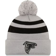 Men s Baltimore Ravens New Era Gray Rebound Pom Cuffed Knit Hat ... 099f89fcf