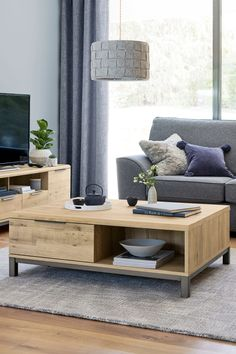 Dimensions: x x cm.Material: Available in rustic oak and light oak effect with a black metal finish.Assembly: Self assembly. Living Room Ideas Oak, Living Room Furniture, Living Room Decor, Decor Room, Living Rooms, Home Decor, Oak Coffee Table, Coffee Table With Storage, Light Oak Furniture