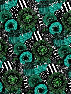 Green flowers for days as far as the eye can see x Marimekko Motifs Textiles, Textile Patterns, Textile Prints, Textile Design, Print Patterns, Surface Pattern Design, Pattern Art, Deco Originale, Motif Floral
