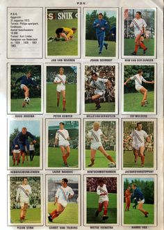 PSV Eindhoven team stickers for Squad Photos, Team Photos, Retro Football, Football Kits, World History, Baseball Cards, 1970s, Display Cases, Stickers