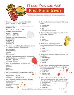 trivia printable questions games food python answers policy drinks privacy spicy foods word party