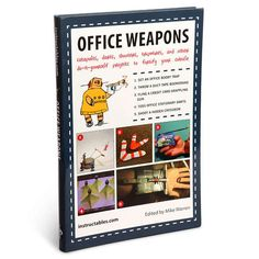 Office Weapons Book - Bored in your office? Office Weapons gives you the complete step-by-step instructions for thirty different daring office pranks, including; Office Booby Trap, Simple Paper Clip Gun, Office Sling Shot, and Arrows for Paper Clip Bow. Office Warfare, Cool Office, Office Stationery, Paper Clip, Funny Pranks, Cool Gifts, Weapons, Geek Stuff, Cool Stuff