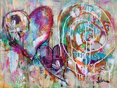 Heart into Journey by Sharon Giles acrylic mixed media collage Mixed Media Collage, Acrylic Paintings, Journey, Heart, Art, The Journey, Hearts