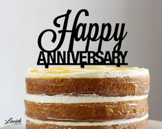 HAPPY ANNIVERSARY acrylic cake topper  Black by LavishLaserDesign