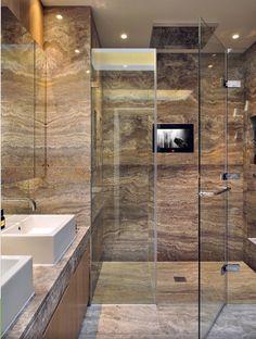 Отличная идея отделки современной ванной комнаты.