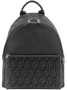 ff78d4b769d4 Fendi Mochila  FF  Black Leather Backpack