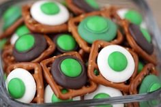 St. Pat's Day -  m&m and chocolate covered pretzels. You could really do this for any holiday (just use appropriately colored m&m).