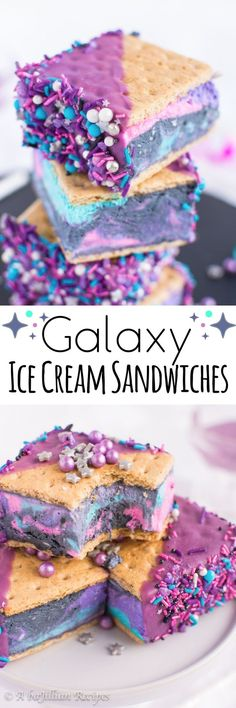 Make these Galaxy Ice Cream Sandwiches to cool down during hot summer nights! Pr… Make these Galaxy Ice Cream Sandwiches to cool down during hot summer nights! Project from abajillianrecipes… Frozen Desserts, Frozen Treats, Just Desserts, Delicious Desserts, Healthy Desserts, Party Desserts, Healthy Kids Party Food, Awesome Desserts, Awesome Food