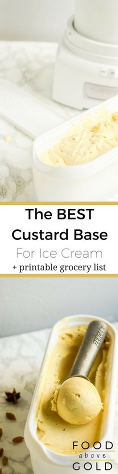 Homemade Custard Ice Cream Make the ultimate homemade frozen treat by mastering how to make a custard base for ice cream. Plus, a recipe for the best custard base for ice cream! via Food Above Gold More from my sitePink Lemonade Vodka Slush Mini Desserts, Frozen Desserts, Frozen Treats, Delicious Desserts, Dessert Recipes, Healthy Desserts, Healthy Recipes, Weight Watcher Desserts, Frozen Custard