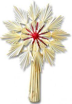 Red Center Star Straw Tree Topper