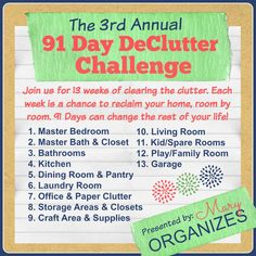 The 3rd Annual 91 Day DeClutter Challenge --- STARTS IN LESS THAN A WEEK!!!