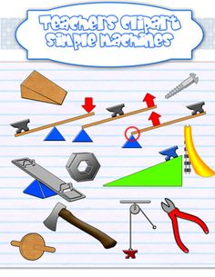 This set includes:lever (1sr,2nd and 3rd class), screw, wedge, wheel-and-axle, pulley,  inclined plane/ramp, slides, axes, see-saws, nut, pliers....
