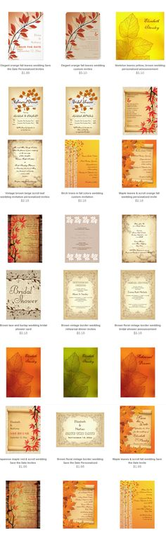 Fall wedding invitations, RSVP cards, bridal shower invites, Save the Date announcements!