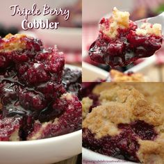 Triple Berry Cobbler - This mixed berry cobbler tastes like an old fashioned cobbler recipe Grandma made with raspberries, blackberries and blueberries. Easy Cherry Cobbler, Triple Berry Cobbler, Mixed Berry Cobbler, Pecan Cobbler, Fruit Cobbler, Cobbler Recipe, Blackberry Cobbler, Summer Dessert Recipes, Fruit Recipes