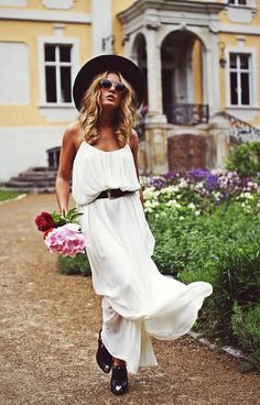 Angelica Blick. Swedish. Summerhouse. Berlin. White Dress. Slacker. Flowers. Gorgeous. Blond. Fashion.