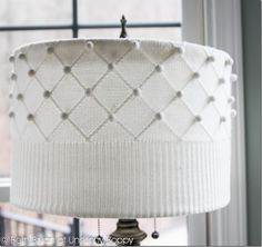 DIY: Old Thrift store sweater, scissors and hot glue and you can make a lampshade cover!