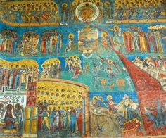 Stock Photo: Church of St George of the former Voronet Monastry, exterior wall paintings representing the biblical scene The Last Judgment, South Bucovina, Moldavia, Romania. Tempera, Fresco, The Last Judgment, Orthodox Catholic, Russian Icons, Black History Facts, Mural Painting, Wall Paintings, European History