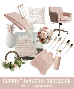 Swivel Armchairs For Living Room Blush And Gold Bedroom, Rose Gold Rooms, Rustic Home Offices, Home Office Decor, Office Ideas, Cheap Adirondack Chairs, Gold Pillows, Blush Roses, My New Room