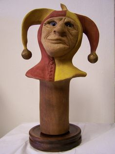 Hand Carved Solid Wood Jester Head, Etsy