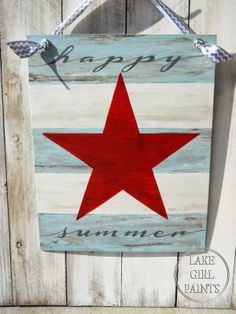 Lake Girl Paints: Happy Summer Star Canvas ~ shared at DIY Sunday Showcase Link Party on VMG206 (Saturdays at 5pm CST). #diyshowcase