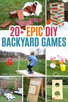 Over 20 awesome DIY backyard games your family will love! Perfect for backyard parties, family game night, or just for fun, your kids will love these giant outdoor games. With everything from giant Boggle to corn hole and Jenga, you'll find the perfect ba Backyard Games Kids, Diy Yard Games, Diy Games, Backyard Parties, Garden Games, Backyard Play, Giant Outdoor Games, Outdoor Games For Kids, Outside Games For Kids