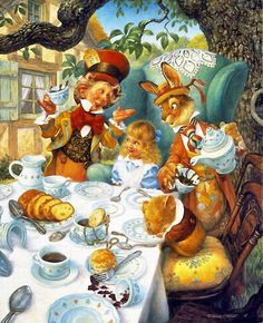 'Take some more tea' the March Hare said to Alice, very earnestly.This attractive and detailed picture of the Hatter's MAD Tea Party from Alice in Wonderland has the characters by the table. Lewis Carroll, Alice Tea Party, Mad Tea Parties, Alice In Wonderland Illustrations, Inspiration Artistique, Chesire Cat, Arte Disney, Fairytale Art, Adventures In Wonderland