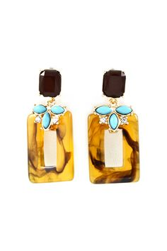 Audrey Earrings in Aqua and Tortoise