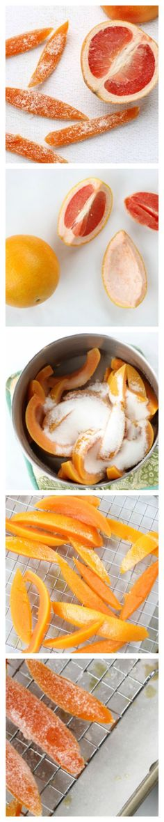 How to make Candied Grapefruit. It's easy to make your own sweet, citrusy, candied grapefruit peel. Learn how to diy yourself a sweet treat. It's easy to make your own sweet, citrusy, candied grapefruit peel. Grapefruit Recipes, Homemade Candies, Sweet Desserts, Holiday Desserts, How Sweet Eats, Cookies Et Biscuits, Candy Recipes, Just In Case, Healthy Snacks