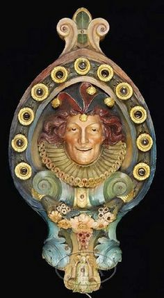 Recast 1960's - Large Jester Carousel plaque. Jester head shields created a crown for Dentzel's carousels in the early 20th century and the originals were made of reinforced plaster and covered each end of the rounding boards on the largest and best carousels.