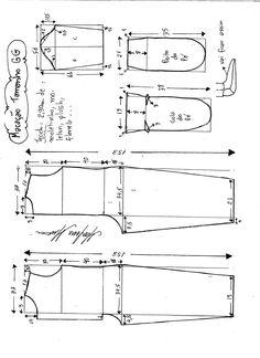 Esquema de modelagem de macacão pijama tamanho GG.