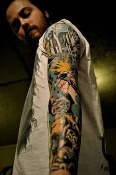 one of the best sleeves i've seen. i love a tattoo sleeve that is a continuous thought! #tattoo