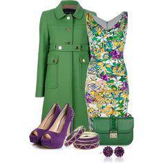 Floral Green and Purple