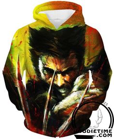 X-Men Comic Superheroes - Logan Wolverine Angry Hoodie - 3D Pullover Clothing