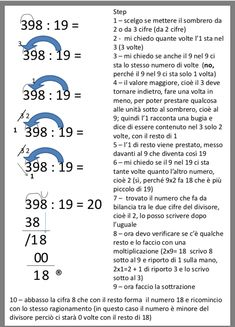 Divisioni a due cifre Math, School, Geography, Math Resources, Mathematics