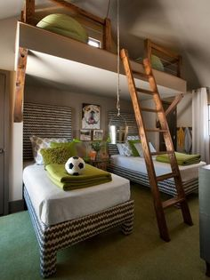 This bunk room design featured in the HGTV Green Home is a great idea if you have vertical space to spare (tall ceilings) and/or a pitched roof.  Who wouldn't want a secret reading space up by the ceiling?