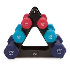 j/fit Dumbbell Set w/Durable Rack | Solid Design | Double Neoprene Coated Workou #jfit
