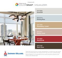 I found these colors with ColorSnap® Visualizer for iPhone by Sherwin-Williams: Snowfall (SW 6000), Hinting Blue (SW 6519), Dromedary Camel (SW 7694), Sashay Sand (SW 6051), Heartthrob (SW 6866), Dark Clove (SW 9183).