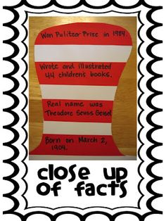 Dr. Seuss Facts Hat - looks like a good idea for an author study