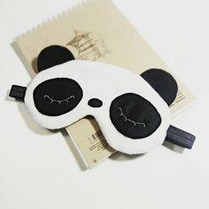 Panda eye sleep mask - Cute kawaii panda sleep mask - Plush soft eye pillow - Organic kids adults Travel mask - Animal party pj mask