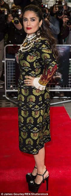 Salma Hayek covers up in eye-catching vintage dress at London premiere of Tale of Tales | Daily Mail Online