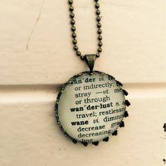 Wanderlust Necklace-Vintage Dictionary Pendant, wanderlust Word Necklace