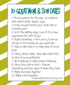 10 Creative Mom and Son Dates Kids Love