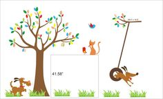 Wall Decal Tree with Patterned Leaves, Dogs, Cat, Tire Swing - Baby Wall Decal - Nursery Wall Decal - 064. $240.00, via Etsy.