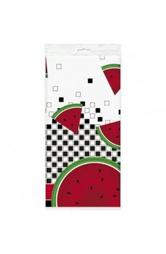 Watermelon Check Plastic Tablecover - Luau Tropical Party Decoration Ideas