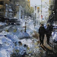 Montreal Winter by Mark Lague Oil ~ 11 x 11