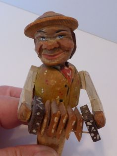Rare Carved Wood Mechanical Bottle Cork Stopper Accordion Player