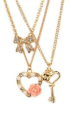 Deb Shops 3 #necklace set with bow, key, heart and flower charms
